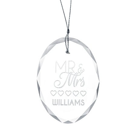 Engravable Mr. and Mrs. Oval Glass Ornament