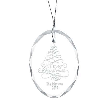 Custom Merry Christmas Oval Glass Ornament