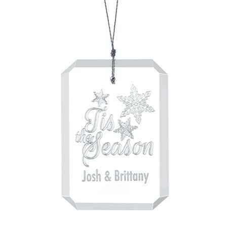 Engravable Tis the Season Rectangle Glass Ornament