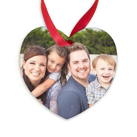 Custom Photo Heart Shaped Christmas Ornament