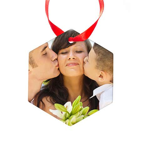 Custom Photo Hexagon Holiday Ornament