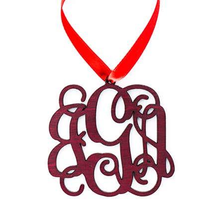 Custom Wood Monogram Ornament