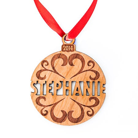 Custom Holiday Name Wood Ornament