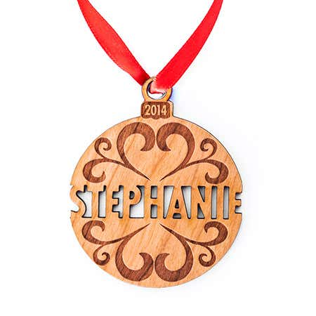 Custom Holiday Name Wood Ornament
