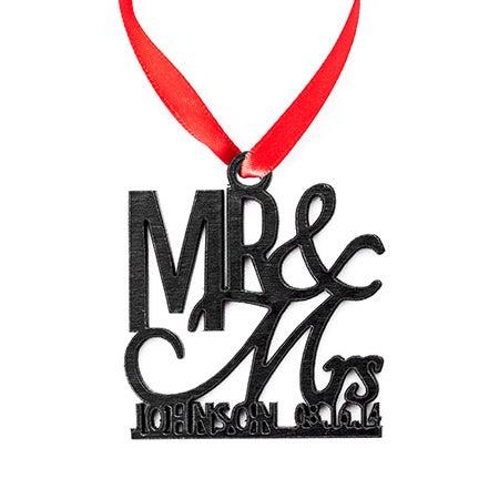 Mr. & Mrs. Personalized Wood Ornament