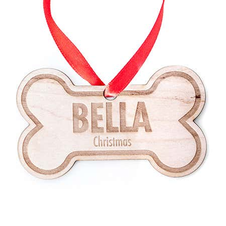 display slide 1 of 3 - Personalized Dog Bone Wood Holiday Ornament - selected slide