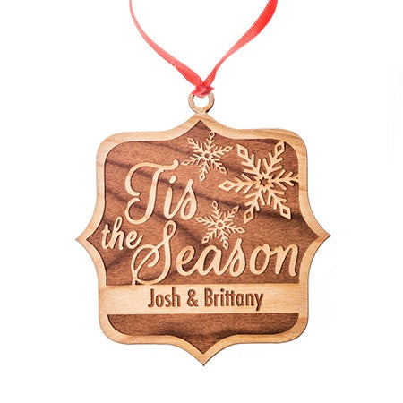 Personalized Tis' The Season Wood Ornament
