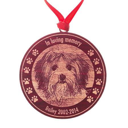 Custom Pet Memorial Photo Red Maple Wood Ornament