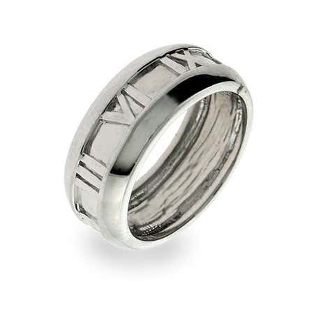Sterling Silver Closed Roman Numeral Ring