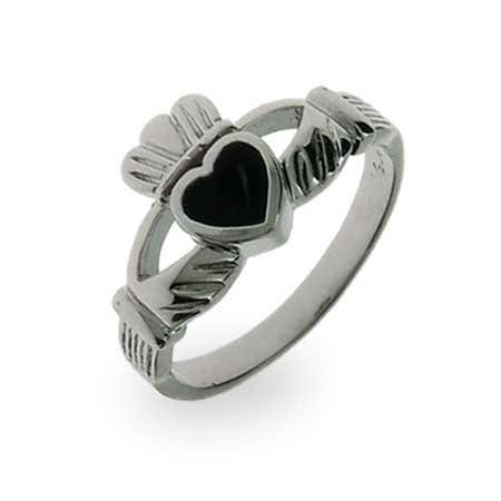 display slide 1 of 2 - Sterling Silver Black Onyx Claddagh Ring - selected slide