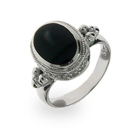 Sterling Silver Oval Black Onyx Ring | Eve's Addiction®