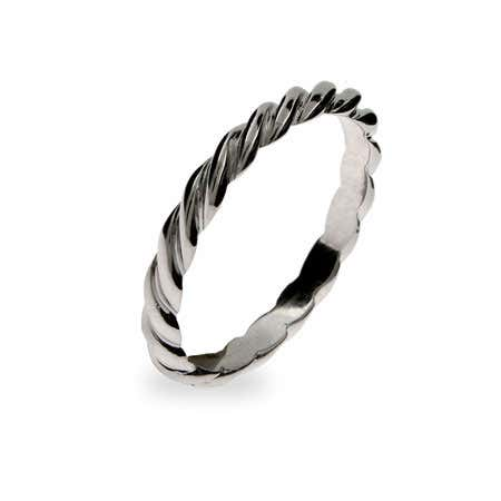 Thin Twisted Stackable Sterling Silver Ring