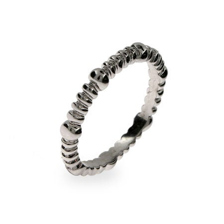 Thin Beaded Dot Sterling Silver Stackable Band | Eve's Addiction®