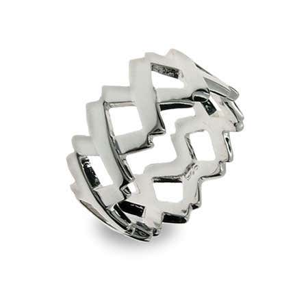 Sterling Silver Continuous Letter X Ring