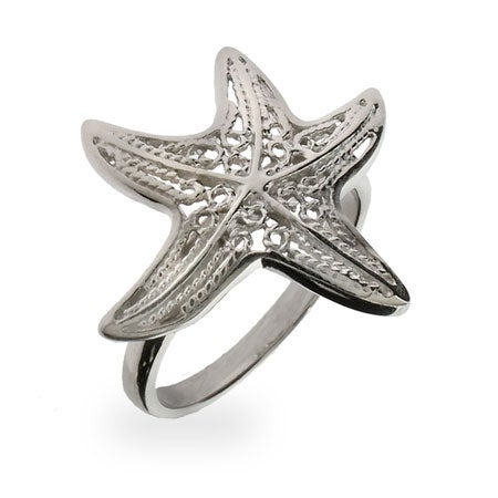 Sterling Silver Starfish Ring Filigree | Eve's Addiction®