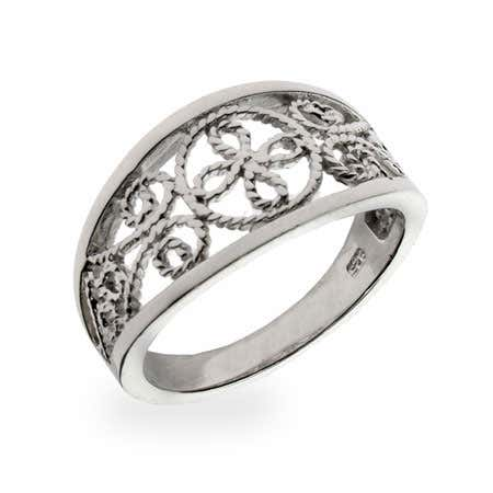 Sterling Silver Victorian Style Wedding Band