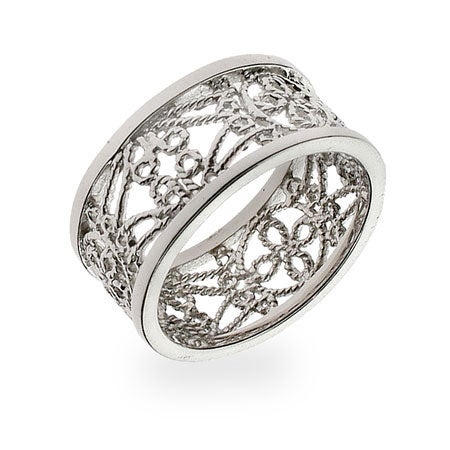 Sterling Silver Vintage Style Filigree Band | Eve's Addiction®