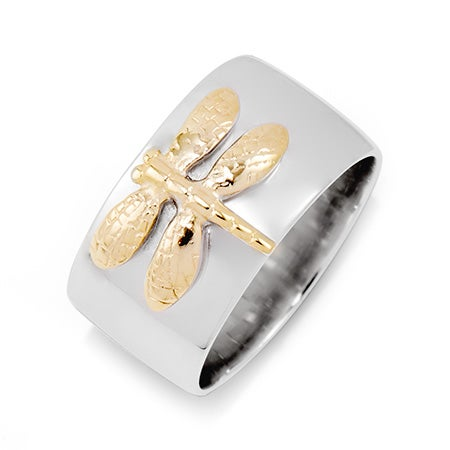 Designer Style Sterling Silver Gold Dragonfly Ring | Eve's Addiction®