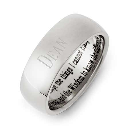 Men's &  Women's Stainless Steel Serenity Prayer Ring