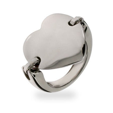 Heart Tag Stainless Steel ID Saddle Ring | Eve's Addiction®