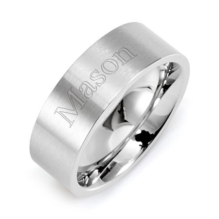 Engravable Stainless Steel Wedding Band -  Straight Edged   Eve's Addiction