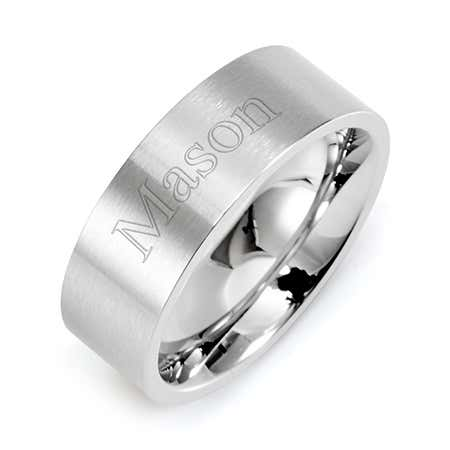 Engravable Stainless Steel Wedding Band -  Straight Edged