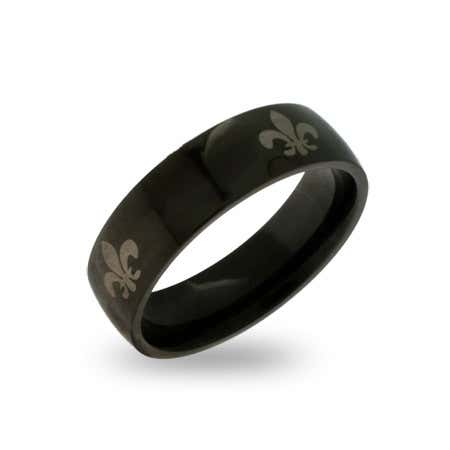 display slide 1 of 1 - Black Plated Stainless Steel Fleur de Lis Ring - selected slide