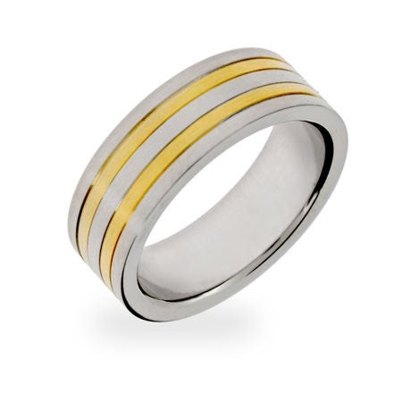 Men's Double Gold Stripe Stainless Steel Ring | Eve's Addiction®