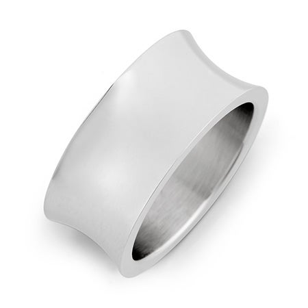 Engravable Concave Style Stainless Steel Wedding Band