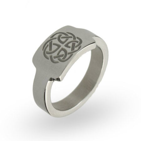 Stainless Steel Celtic Knotwork ID Ring | Eve's Addiction®