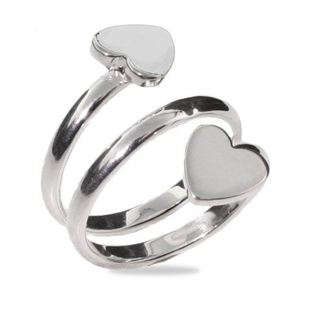 Sterling Silver Two Heart Open Ring | Eve's Addiction