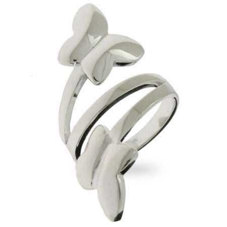 Contemporary Style Sterling Silver Butterfly Wrap Ring | Eve's Addiction®