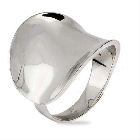 Modern Sterling Silver Concave Ring