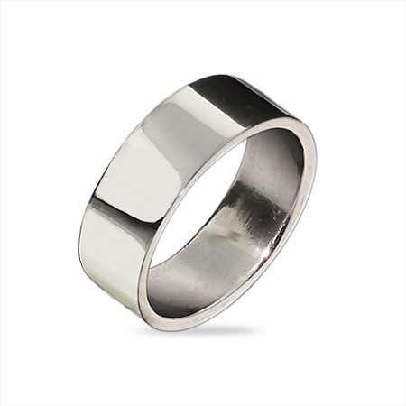 6mm Sterling Silver Flat Wedding Band