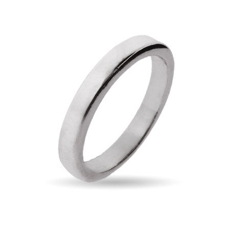 3mm Sterling Silver Flat Wedding Band | Eve's Addiction®