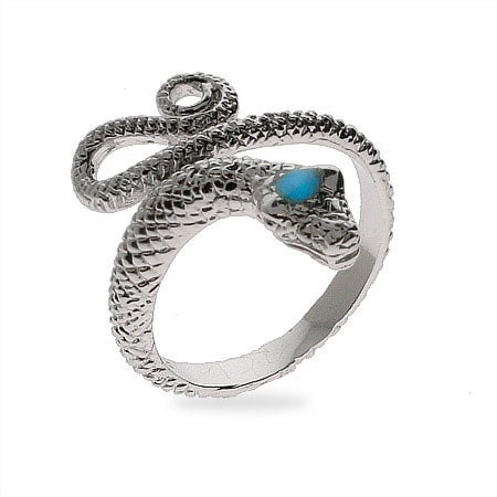 Diamond Cut Sterling Silver Snake Ring | Eve's Addiction®
