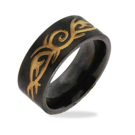 Men's Stainless Steel Black Plate Tribal Design Ring