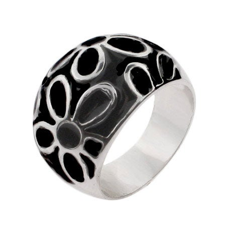 Black Enamel Sterling Silver Daisy Ring | Eve's Addiction®