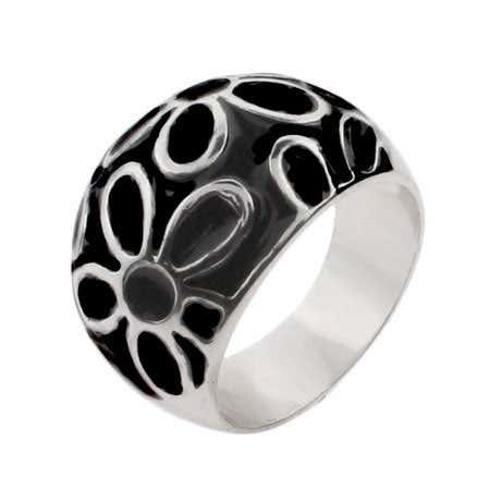 Black Enamel Sterling Silver Daisy Ring | Eve's Addiction®