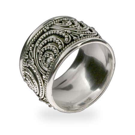 Wide Bali Sterling Silver Ring