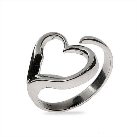 Sterling Silver Open Heart Wrap Ring | Eve's Addiction®