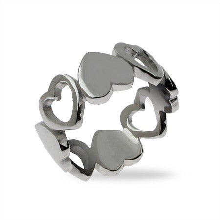 Band of Sterling Silver Hearts Ring | Eve's Addiction®