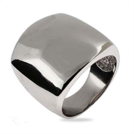 Domed Rectangular Sterling Silver Ring