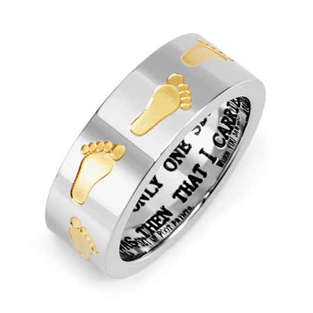 Golden Footprints in the Sand Stainless Steel Ring