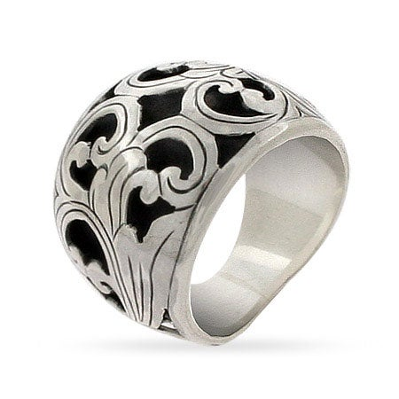 Wide Sterling Silver Bali Ring with Carved Floral Design | Eve's Addiction®