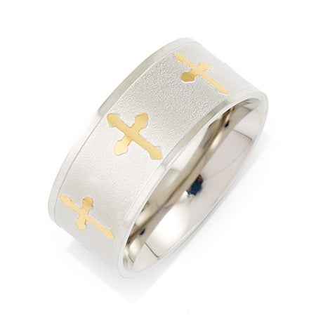 Gold Cross Stainless Steel Message Band | Eve's Addiction®