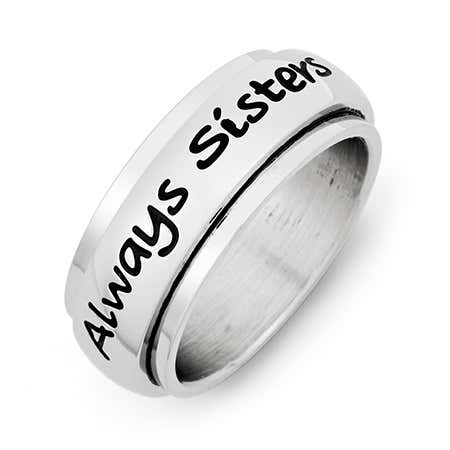 Always Sisters Forever Friends Stainless Steel Ring