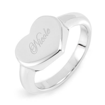 Designer Style Engraved Stainless Steel Heart Signet Ring | Eve's Addiction®