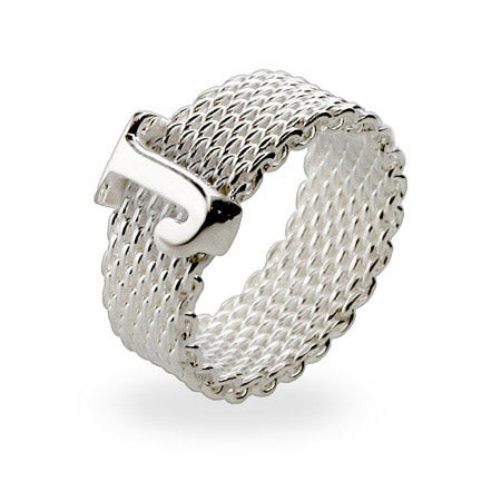 Designer Style Sterling Silver Mesh Initial Ring | Eve's Addiction®