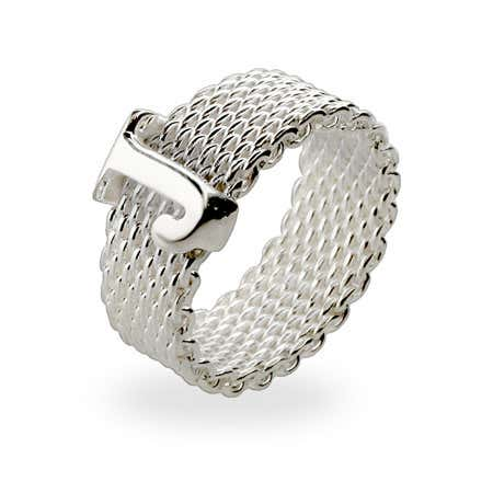 display slide 1 of 2 - Designer Style Sterling Silver Mesh Initial Ring - selected slide